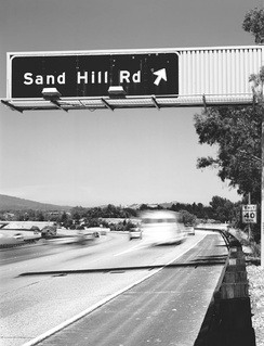 Sand Hill Road in Menlo Park, California, where many Bay Area venture capital firms are based
