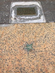 Star on the sidewalk marking where the Declaration of Independence was first read