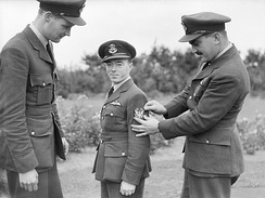 The first three members of the Eagle Squadron, left to right - Andrew Mamedoff, Vernon Keough and Eugene Tobin, Church Fenton, Yorkshire, October 1940