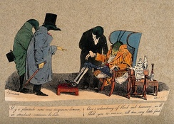 Three leeches attend a grasshopper, prescribing a course of bloodletting, cartoon by Jean-Ignace-Isidore Gérard c.1832. Wellcome Library collections.