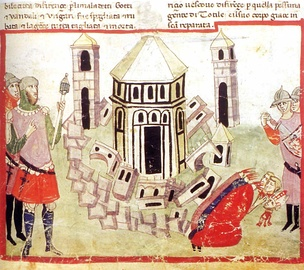 The Goth King Totila razes the walls of Florence during the Gothic War: illumination from the Chigi manuscript of Villani's Cronica