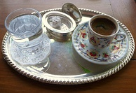 Turkish coffee with Turkish delight. Turkish coffee is a UNESCO-listed intangible cultural heritage of Turks.[486][487]