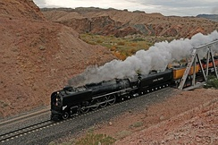 Union Pacific 844 pulls a steam excursion train crossing Afton Canyon, 2011.