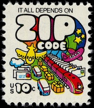 "U.S. postage stamp, 1973: ""It all depends on ZIP Code"""