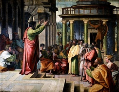 St Paul preaching his Areopagus sermon in Athens, by Raphael, 1515.