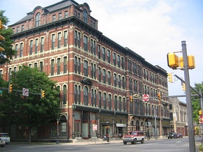 The Weightman Block in downtown Williamsport was built by Peter Herdic