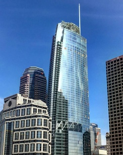 The Wilshire Grand Center in Downtown LA is the tallest building in the U.S. west of the Mississippi River at (1,099 feet or 335 meters). It is also currently the tallest building in the state of California.