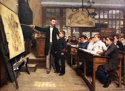 "Albert Bettannier's 1887 painting La Tache noire depicts a child being taught about the ""lost"" province of Alsace-Lorraine in the aftermath of the Franco-Prussian War – an example of how European schools were often used in order to inoculate Nationalism in their pupils."
