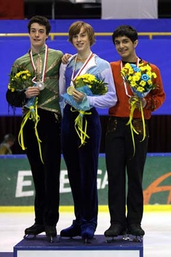 Rippon (center) at the 2007–08 Junior Grand Prix Final podium