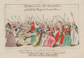 An illustration of a crowd of women marching with various weapons