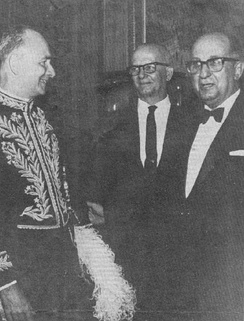 Photo of Adonias Filho (left) being honored with the 21st chair of the Academia Brasileira de Letras, 1965