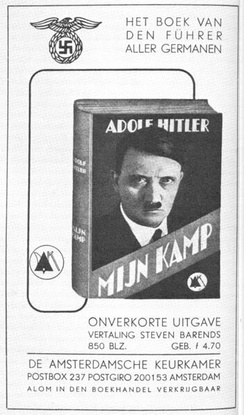 "Advertisement for the Dutch translation of Mein Kampf. Hitler is referred to as ""the Führer of all Germanics"" (1939)"