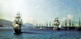 Ivan Aivazovsky. Black Sea Fleet in the Bay of Theodosia, just before the Crimean War