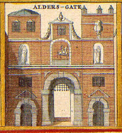 An old illustration of the gate, c. 1650