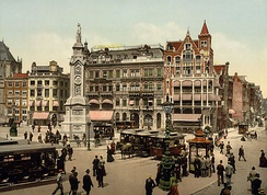 Photochrom of Amsterdam's Dam Square at the beginning of the 20th century