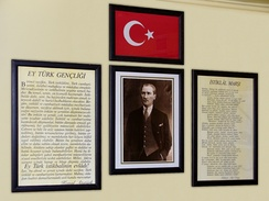 An example of a common classroom display in Turkey, including the national anthem at far right.