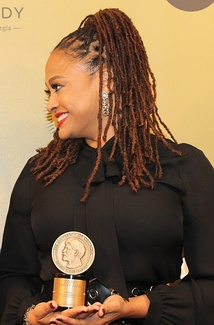 Duvernay with her Peabody Award for 13th at the 76th annual ceremony in 2017