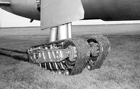 Experimental tracked landing gear on a B-36 Peacemaker