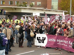 Protesters objecting to the appearance of Nick Griffin on Question Time outside Television Centre in 2009