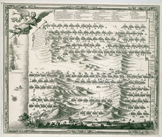 Battle of the Dunes 1658 - 1698 engraving by Sebastian Beaulieu, showing the Spanish deployment at top and French below.