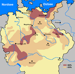 Reduction in population of Holy Roman Empire compared to pre-war.   33-66%   > 66%