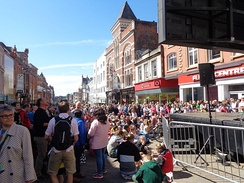 Spectators on Briggate on the day of the Grand Depart.