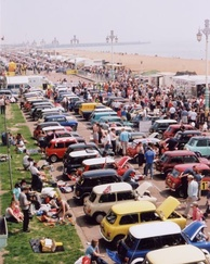 Seafront display of Minis after a London to Brighton drive