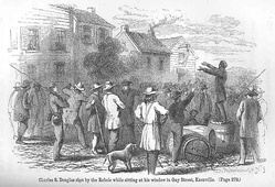 Engraving of a Confederate soldier firing at Union supporter Charles Douglas on Gay Street in Knoxville in late 1861