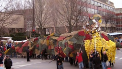 A tradition started in 1901, Dragon Day celebrates a feat by first-year architecture students to construct a colossal dragon to be paraded to center campus and then burned.