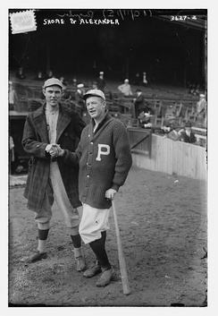 Starting pitchers Ernie Shore and Grover Cleveland Alexander shake hands during the 1915 World Series.