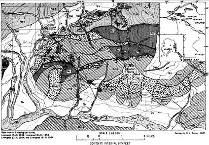 Geologic map of the Livengood District, where Qp are placer workings