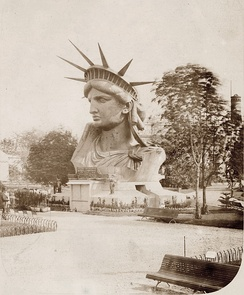 The statue's head on exhibit at the Paris World's Fair, 1878