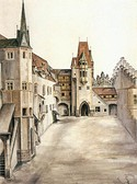 Innsbruck Castle Courtyard, 1494, Gouache and watercolour on paper