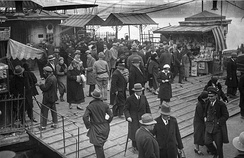 People at the commuter ferry quay of Karaköy in Istanbul in the 1930s