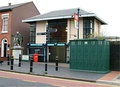 The station frontage on Vyse Street, with to the right a grade II listed cast-iron urinal.