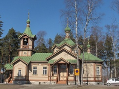Another St. Nicholas Church in Joensuu (1887), perhaps the most notable wooden Orthodox church in Finland