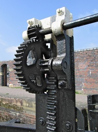 Lock gate controls on a canal