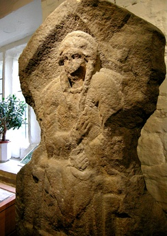Gritstone bas-relief of Romano-British woman