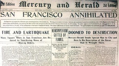 The Mercury and Herald front page on the afternoon of April 19, 1906, describes the state of destruction after the earthquake in San Francisco, including the destruction of the Examiner and Call buildings.