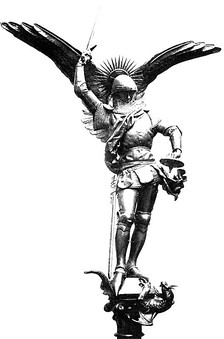 The Archangel Michael featured in Mont Saint-Michel and the Insignia of the 9th Parachute Chasseur Regiment.
