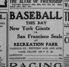 1907 advertisement for game at Valencia Street Recreation Park stadium