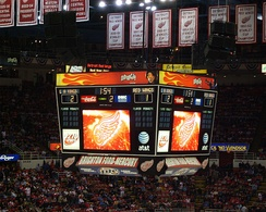 A scoreboard, during a game between the Detroit Red Wings and the Los Angeles Kings on March 9, 2007 at Joe Louis Arena.