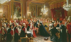 Edward VII invests Haakon VII of Norway with the insignia of the Order of the Garter in the Throne Room of Windsor Castle, November 1906. Painting by Sydney Prior Hall.
