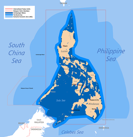 The exclusive economic zone of the Philippines shown in the lighter blue shade, with Archepelagic Waters in the darkest blue