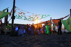 Psychedelic trance culture of KaZantip in 2006, with decorations commonplace at trance parties.