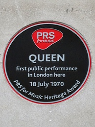 PRS for Music heritage award commemorating Queen's first performance, Prince Consort Road, London