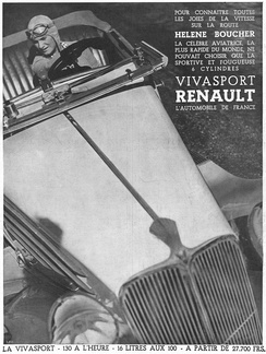 Renault Viva Grand Sport and Hélène Boucher. During the 1930s, Renault settled several speed world records with Caudron planes, thanks to its 6-cylinders engines and aerodynamic designs[35]