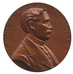 Mint Director George E. Roberts on his Mint medal designed by Chief Engraver Charles E. Barber