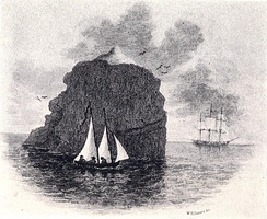 An illustration depicting HMS Endymion's landing party in their boat at Rockall, with Endymion in the background