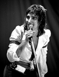 Singer Rod Stewart performing in 1976. He was one of the major British soft rock artists of the 1970s